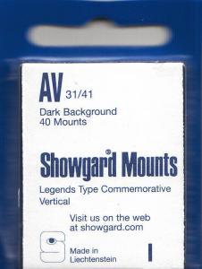 SHOWGARD BLACK MOUNTS AV 31/41 (40) RETAIL PRICE $3.95