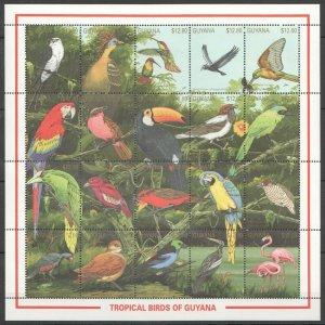 PK128 GUYANA FAUNA TROPICAL BIRDS OF GUYANA 1 BIG SH MNH STAMPS