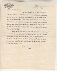 TASMANIA, HIGHFIELD HOTEL, HOBART, 1913 letter to Wifey..