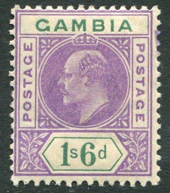 GAMBIA-1909 1/6 Violet & Green Sg 82 LIGHTLY MOUNTED MINT V20318