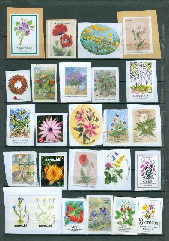 Sweden. Poster Stamp Lot 25 Different Flowers. On Paper. Red Cross.Health Associ