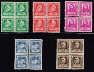 US STAMP #864-868 Famous Americans Series – Poets 1940 MNH/OG BLK OF 4 SET