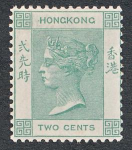 HONG KONG 37 MINT LH, 2c GREEN, VICTORIA, WMK CA
