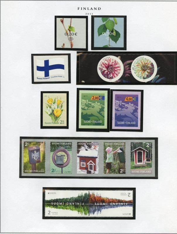 FINLAND SELECTION OF 2011/2012  ISSUES MINT NH AS SHOWN SCOTT CATALOG $211.00