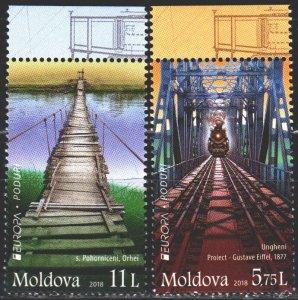 Moldova. 2018. 1031-32. Bridges, train, Europe-sept. MNH.