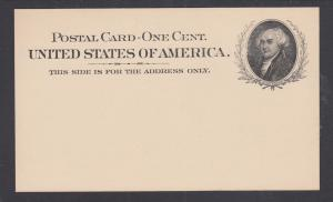 US Sc UX15 mint 1898 1c black John Adams Postal Card, VF+