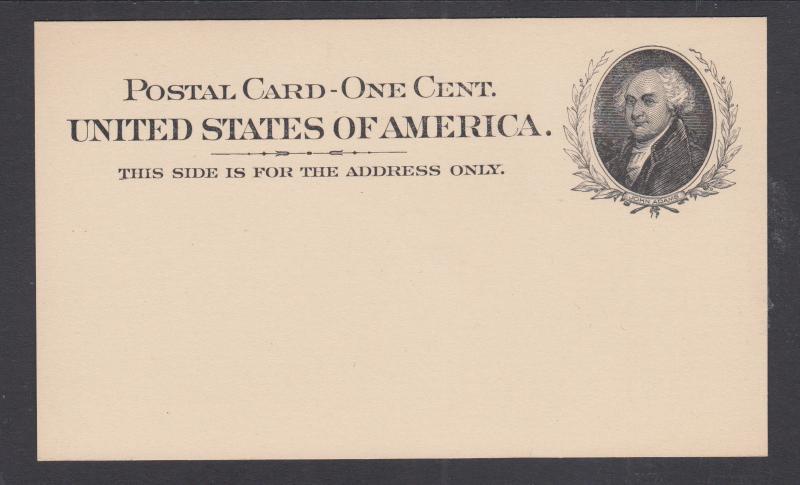 US Sc UX15 mint 1898 1c black John Adams Postal Card, VF+