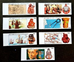Vietnam 500th Discovery America 1990 Map Ship Ceramic Colombus stamp MNH *imperf