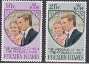 Pitcairn Islands # 135-136, Princess Anne's Wedding, NH, 1/2 Cat.
