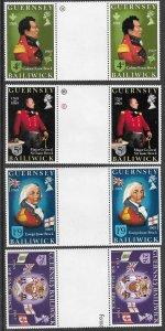 Great Britain-Guernsey # 24-27 Sir Isaac Brock  GUTTER PAIR  (4) Mint NH