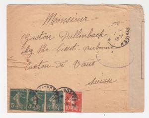 FRANCE, 1918 Censored cover, Tresor Aux Poste to Switzerland.