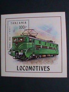 TANZANIA-1991 SC#807- LOCOMOTIVE-FRANCE 1952 TRAIN S/S MNH-VERY FINE