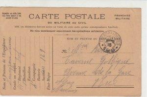 French Republic 1915 WW1 Tresor et Poste no 129 Post Card  Ref 31464