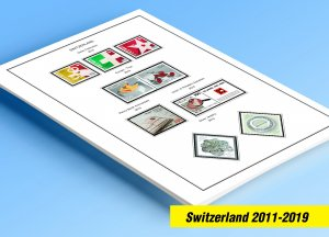 COLOR PRINTED SWITZERLAND 2011-2019 STAMP ALBUM PAGES (56 illustrated pages)