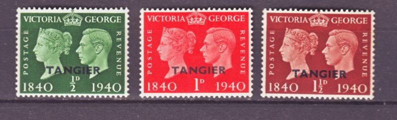 J22153 Jlstamps 1940 great britain tangier ovpt,s set mh #518-20
