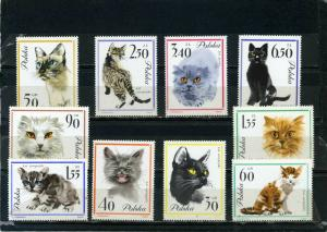 POLAND 1964 Sc#1216-1225 FAUNA/CATS SET OF 10 STAMPS MNH