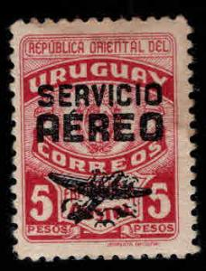Uruguay Scott C126 MH* Overprint  stamp Stained at top