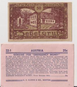 AUSTRIA Notgeld Currency original H E HARRIS envelope w 3 pc