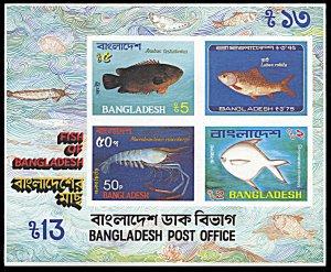 Bangladesh 228a, MNH, Fish souvenir sheet
