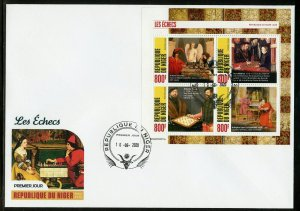 NIGER 2020 PAINTINGS OF CHESS PLAYERS  SHEET FIRST DAY COVER