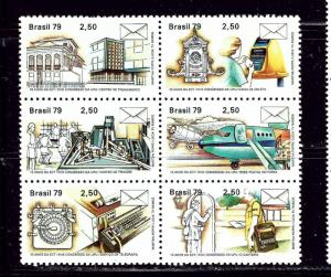 Brazil 1607a MNH 1979 Block of 6