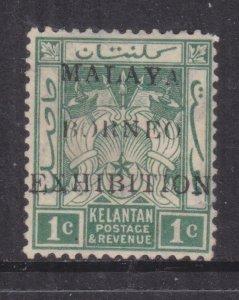 KELANTAN, 1922 Malaya Borneo Exhibition, 1c. Green, mint no gum.