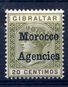 Morocco Agencies 1884 sg 3c 20c olive green, fine VLMM