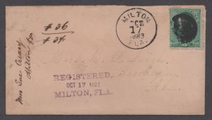 **US 19th Century Reg Cover Scott # 207, 187(on back),  Milton, FL , 10/17/1883