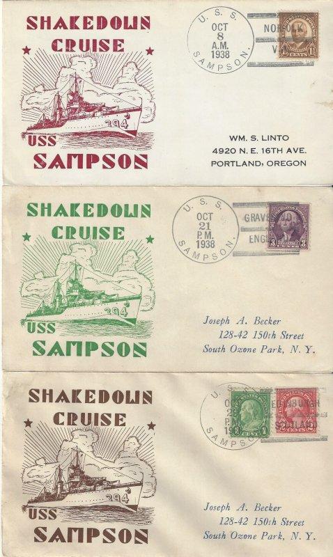 US Naval Cover USS Sampson DD394  1938 Horton Shakedown Cruise - 5 Covers