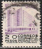 MEXICO 931, $20Pesos 1950 Def 2th Issue WMK 300 USED. F-VF. (1424)