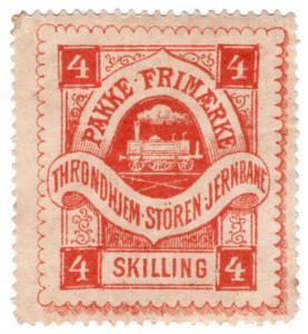(I.B-CK) Norway Railway : Throndhiem-Storen Jernbane Parcels 4sk