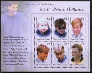 Papua New Guinea MNH S/S 1076 Prince William Through The Years 2003