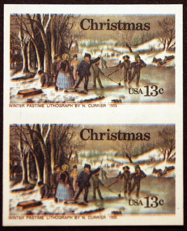 #1702a 13c Multi 1976 Rare Imperf Vertical Pair ERRORS *MNH*