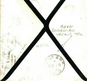 GB Cover*GREAT SOUTHERN & WESTERN RPO*Ireland Railway TPO CDS Early Use 1890 E17