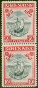 Grenada 1943 10s Slate-Blue & Brt Carmine SG163b P.14 Narrow Fine MNH Vert Pair