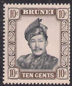 Brunei 1964 - 72 QE2 10ct Sultan Omar MM SG 124a ( R1009 )