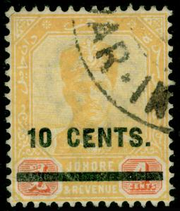 MALAYSIA - Johore SG58, 10c on 4c Yellow & Red, FINE USED. Cat £40.