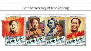 Sierra Leone Mao Zedong Stamps 2018 MNH Tse-Tung Famous People Flags 4v M/S