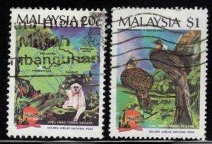 Malaysia Scott 411-412 Used National Park wildlife set