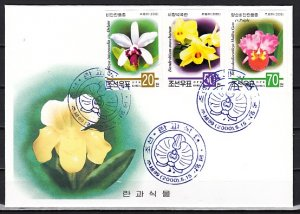 N. Korea, Scott cat. 4039-4041. Orchids, IMPERF issue. First day cover. ^
