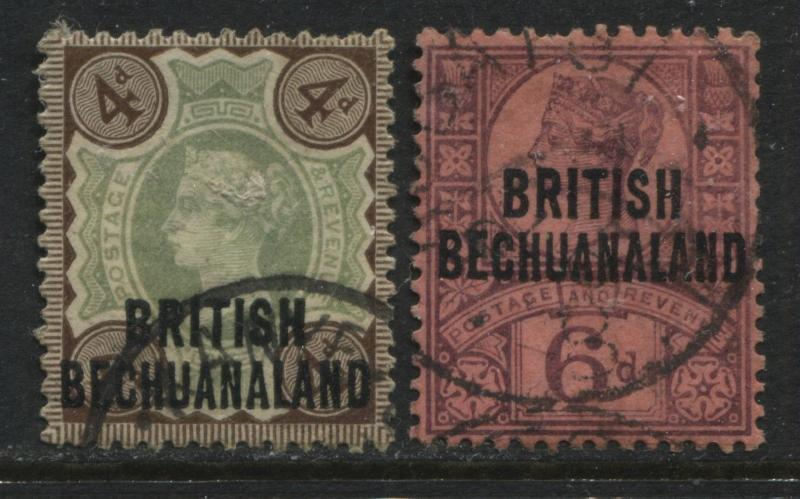British Bechuanaland 1897 4d & 6d overprinted QV Jubilees used