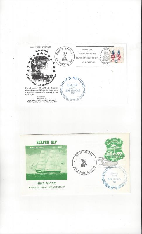 US BALPEX 74, SEAPEX XIV 77, Both with UN Show Stamps. Stamp Show Covers