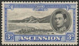 ASCENSION-1938-53 3d Black & Ultramarine Sg 42 toned gum MOUNTED MINT V38056