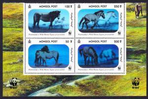 Mongolia WWF Przewalski's Horse Block of 4 with WWF Logo T2 SG#2857-2860 SC#2441
