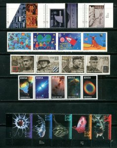 US 2000 Commemorative Year Set 99 stamps including 4 Sheets, Mint NH, see scans