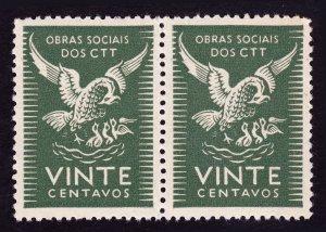 PORTUGAL CINDERELLA STAMP ⭐ OBRAS SOCIAIS DOS CTT ⭐ SOCIAL CHARITY - STRIP OF 2