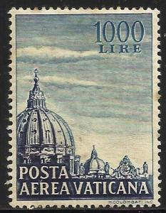 Vatican City Air Mail 1953 Scott# C23 MH (some toning, writing on back)