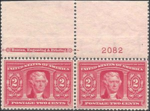 324 Mint,OG,NH... Imprint/Plate# Pair... SCV $160.00