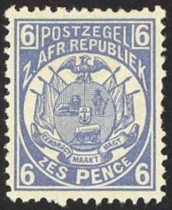 Transvaal Sc# 130 MH 1885-1893 6p blue Coat of Arms