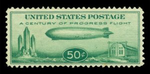 U.S. 1933 AIRMAIL - Baby Zeppelin  50c green Scott # C18 mint MLH VF